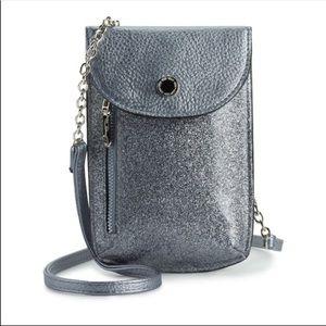 Silver Crossbody Cellie Cell Phone Purse Bag